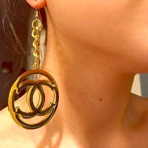 Huge Chanel logo celebrity earrings gold tone